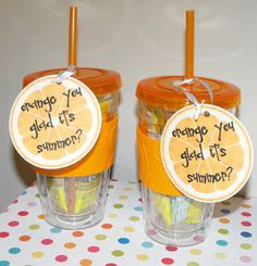 Year End Teacher Gifts -  Another play on the Orange You Glad It's Summer? gift idea@Gina Lempka