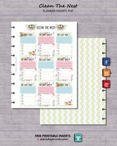 FREE Planner Inserts, Clean The Nest - Sepiida Prints