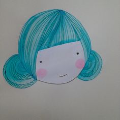 Teal bun and blush Lady with fab hair and beauty blushes original Illustrations