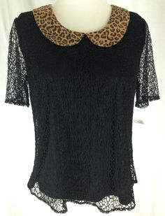 *NEW* SUGARLIPS S/S Black Lace Top, Lined, Animal Print Collar - Sz S, Black #Sugarlips #Top