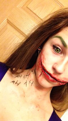 Halloween makeup! Joker!! Liquid latex was used for the mouth :)