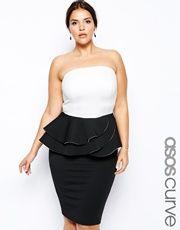 ASOS CURVE Bandeau Dress With Double Peplum