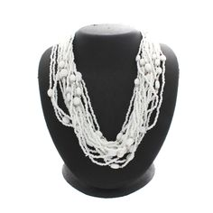 "Susan Graver Silvertone Multi-Strand White Seed Bead 31"" Necklace $100 #SusanGraver #StrandString"