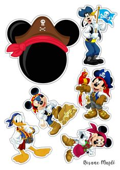 Mickey Mouse E Amigos, Mickey Mouse And Friends, Mickey Minnie Mouse, Pirate Theme, Pirate Party, Festa Do Candy Crush, Minie Mouse Party, Pastel Mickey, Disney Cake Toppers