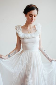 Early 1900s ivory gauze gown - Devore Vintage