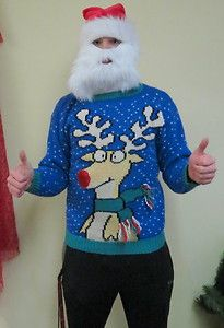Hysterically Happy Smiling Reindeer Ugly Christmas Sweater Mens M Womens L | eBay