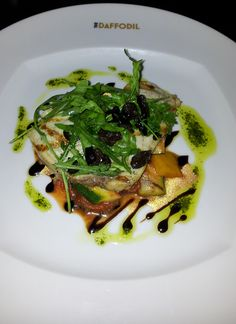 Delicious swordfish on a bed of ratatouille, The Daffodil, Cheltenham, Cotswolds. http://www.thedaffodil.com/