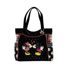 Disney Mickey Mouse and Minnie Mouse Women's Quilted Tote Bag (285 BRL) ❤ liked on Polyvore featuring bags, handbags, tote bags, quilted handbags, handbags totes, pocket tote, tote handbags and quilted tote bags