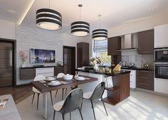 Современная квартира — кухня, гостиная, столовая. Автор проекта — Сергей Казистов, Нижний Новгород.
