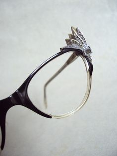 1950s Black cat eye spectacle frames with marcasite by Veramode