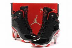 nike jordan 6 rings heels black white red