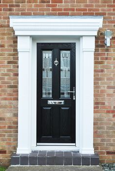 Our Most Popular Composite Door the Altmore in Black with Zinc Prairie Glass Design Finished off with a beautiful Cambridge Surround Canopy. & Our Most Popular Composite Door the Altmore in Black with Zinc ...
