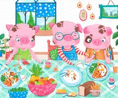Three little pigs by Sofia Cardoso - children's illustration  #illustration #kidlitart