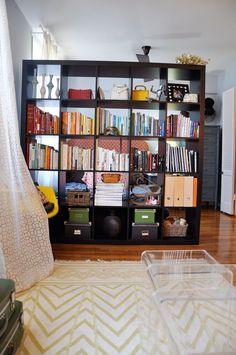 Bookshelf as a room divider- Wallpaper Designer Kimberly Lewis' Brooklyn Alcove