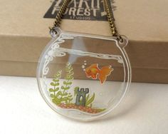Goldfish in a Bowl Terrarium Necklace by BakuForestStudios Shrink Plastic Jewelry, Resin Jewelry, Jewelry Crafts, Shrink Art, Terrarium Necklace, Plastic Art, Shrinky Dinks, Acrylic Charms, Cute Pins