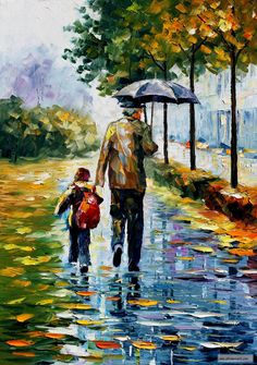 AFTER SCHOOL — PALETTE KNIFE Oil Painting On Canvas By Leonid Afremov.