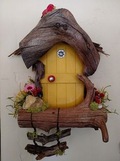 Flower Sedona Fairy Door Made to Order Diy Fairy Door, Fairy Garden Doors, Fairy Doors, Fairy Tree Houses, Fairy Garden Houses, Macrame Wall Hanger, Twig Furniture, Creative Crafts, Diy And Crafts