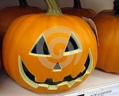 A ceramic pumpkin to put in the window to light up on Hallowe'en.