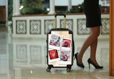 Customize your very own carry-on suitcase! Whether its pictures from your favorite family vacation or your company logo for corporate gifts or a photo of a favorite pet or loved one, the MyFlyBag guarantees you'll travel in style and have memories that will last a lifetime! Carry On Suitcase, Carry On Luggage, Pet Fashion, High Fashion, Personalized Luggage, Business Gifts, Corporate Gifts, Corporate Branding, Custom Bags