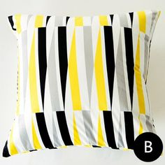 Black and yellow geometric pillows for living room waves striped cushions Grey Throw Pillows, Striped Cushions, Geometric Pillow, Black N Yellow, Waves, Living Room, Gray, Top, Grey Cushions