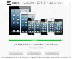 Evasi0n iOS 6.1 Jailbreak is 96% completed today, Releasing today!