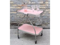 VINTAGE Pink Bar Cart Kitchen Storage Wow your guests with this pink bar cart at your next pa&; VINTAGE Pink Bar Cart Kitchen Storage Wow your guests with this pink bar cart at your next pa&; Retro Vintage, Vintage Design, Vintage Stuff, Retro Art, Upcycled Vintage, Retro Furniture, Dining Furniture, Furniture Design, Antique Furniture