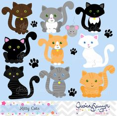 INSTANT DOWNLOAD, kitty cat clipart, cat clip art, for personal and commercial…