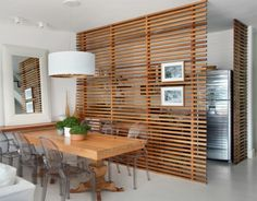 Partition wall wooden kitchen and dining room separating