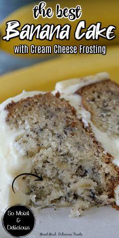 Banana Layer Cake Recipe, Banana Dessert Recipes, Layer Cake Recipes, Banana Bread Recipes, Easy Cake Recipes, Frosting Recipes, Sweet Recipes, Frosting For Banana Cake, Banana Cakes