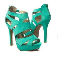 Qupid Women's Shoes High Heel Ankle Strap Peep Toe Platform Sandal, Seagreen Faux Suede