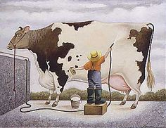 "Lowell Herrero (American, born 1921) ~ ""Preparing for the Fair"""