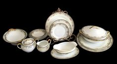 Noritake Mayville China Service for Ten with Serving Pieces 1920-1940 Made in Japan by TreasuresFoundShoppe on Etsy https://www.etsy.com/listing/246944895/noritake-mayville-china-service-for-ten