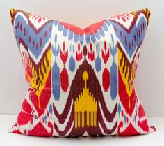 20x20 ikat pillow cover red blue yellow pillow ikat by SilkWay