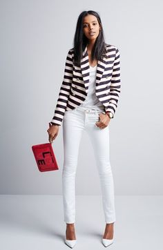 Stripe blazer/white jeans - shopnordstrom.com