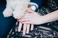 Engagement session ring shot with puppy dog paw. by Jessica Watson Photography