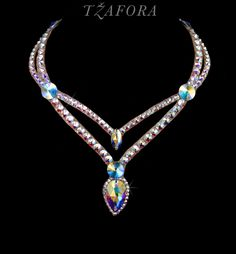 """Girl Talk"" - Swarovski ballroom necklace. Ballroom dance jewelry, ballroom dance dancesport accessories. www.tzafora.com Copyright © 2016 Tzafora."