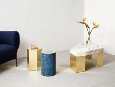 Slash Objects' debut furniture collection mixes brass, marble, concrete, ceramic, and industrial rubber in endless combinations and at various…