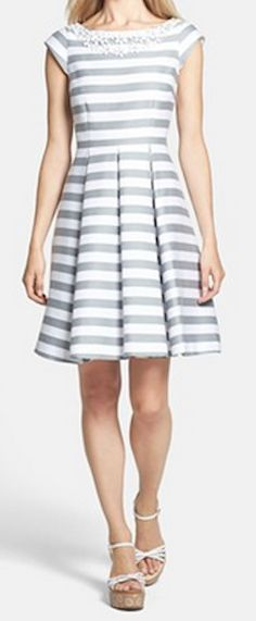 Loving this #katespade grey striped dress with jeweled neckline http://rstyle.me/n/g3behnyg6