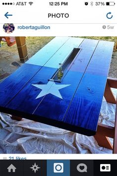 Texas Flag picnic table with built in drink cooler