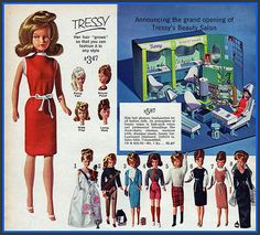 For mom: 1964 Sears Christmas, Tressy Doll with Beauty Salon by mcudeque, via Flickr Play Barbie, Vintage Barbie, Vintage Dolls, Vintage Advertisements, Vintage Ads, Doll Hair, New Dolls, Barbie Friends, Childhood Memories