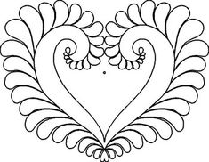 Patsy Thompson Designs: Shop | Category: Quilting Stencils | Product: PT6: Feathered Heart Stencil (12 X 9.5 inches)