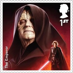 A Royal Mail stamp featuring The Emperor Star Wars Film, Star Wars Art, Star Trek, Reylo, Tableau Star Wars, Royal Mail Stamps, Images Star Wars, Emperor Palpatine, Chewbacca