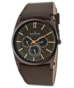 Think Matt would like this - Skagen Men's Brown Dial Brown Genuine Leather SKAGEN-759LDRD Watch : style # 325156701