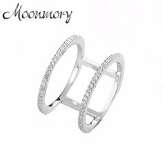Moonmory European Hot Sale 925 Sterling Silver Simple Wedding Ring For Women High Quality Knuckle Ring With White CZ Wholesale #Affiliate