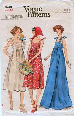 1970s Vogue 9743 Misses Sun Dress Sewing Pattern Empire Waist Shoulder Ties Side Button Size 14 Bust 36 UNCUT