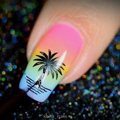 The best new nail polish colors and trends plus gel manicures, ombre nails, and nail art ideas to try. Get tips on how to give yourself a manicure. Cute Acrylic Nails, Cute Nails, Pretty Nails, Nail Art Designs Videos, Nail Art Videos, Colorful Nail Designs, Flower Nail Designs, Tropical Nail Designs, Palm Tree Nail Art