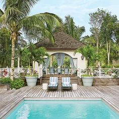 Pool – via architectural digest The Glam Pad: Miles Redd Transforms a Bahamas Beach House Bahamas Beach, Bahamas Vacation, Beach Pool, Palm Beach, Bahamas House, Italy Vacation, Architectural Digest, Outdoor Spaces, Outdoor Living