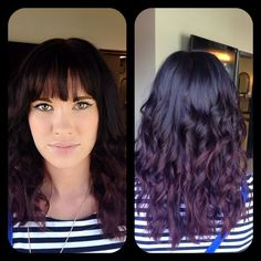 Amber Heater, Gorgeous Hair Salon, Salisbury MD (410)677-4675 Chocolate cherry ombré, wand curls, messy curls, bangs