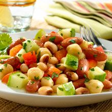 Heart-Healthy Salad that is Nutritious and Delicious!  This luscious three bean salad recipe combines GOYA® Red Kidney Beans, GOYA® Chick Peas, and GOYA® Blackeye Peas with crunchy fresh veggies, and a bright, lemony vinaigrette.