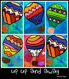 Up, Up and Away! colorful!   tempera or oil pastels
